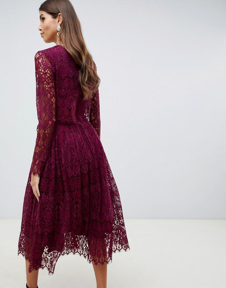 ASOS Lace Long Sleeve Midi Prom Dress in Red - Lyst
