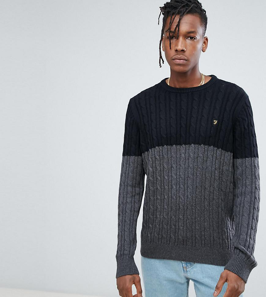 Ludwig Cable Knit Jumper in Black - Black Farah Buy Newest Pl7wISldBQ
