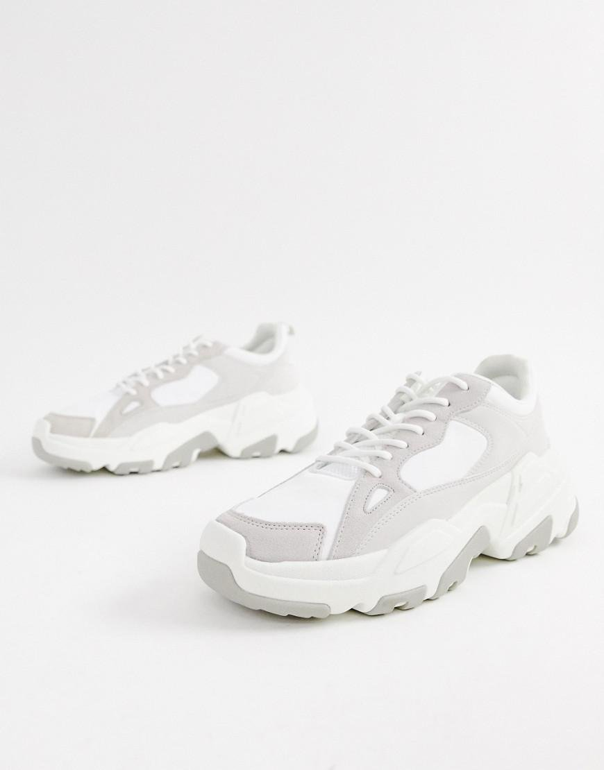 low priced large discount save up to 80% Bershka Denim Chunky Sneaker In White for Men - Lyst