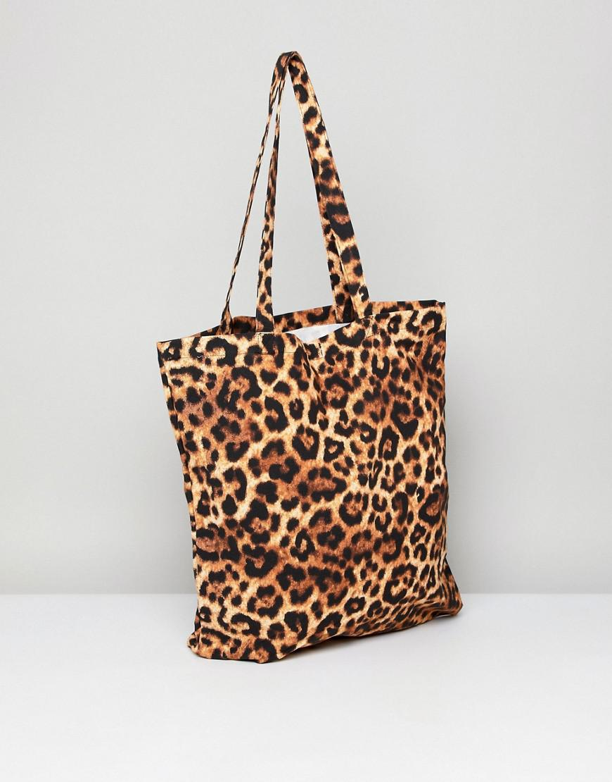 Monki Cotton Leopard Print Tote Bag in Brown