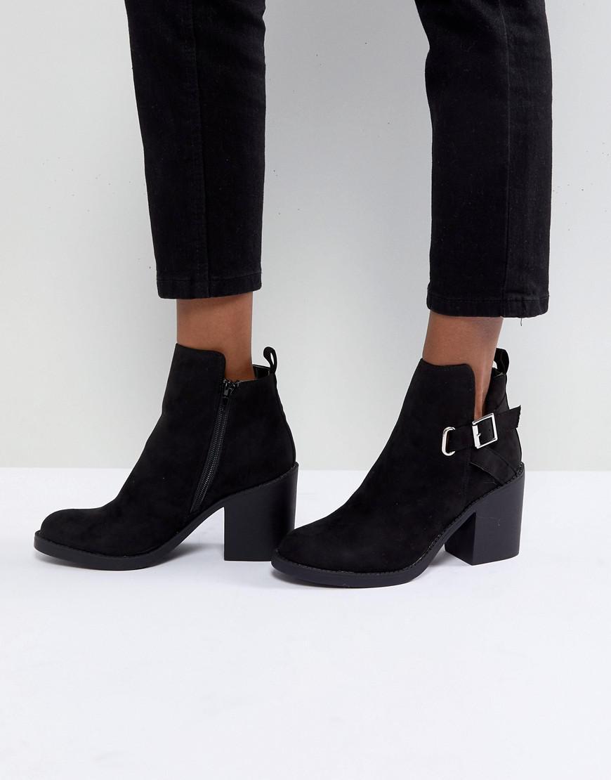 block heel zip side ankle boots