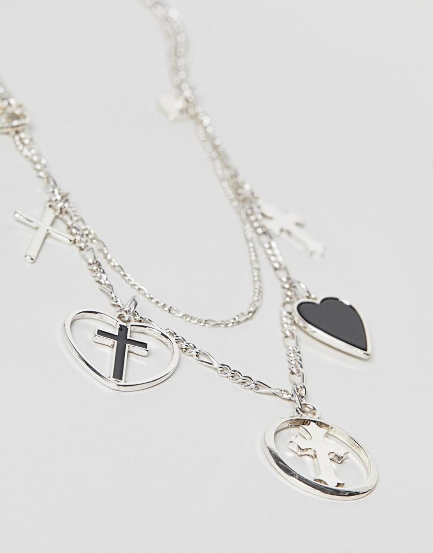 ASOS Denim Vintage Style Layered Charm Multirow Necklace in Silver (Metallic)
