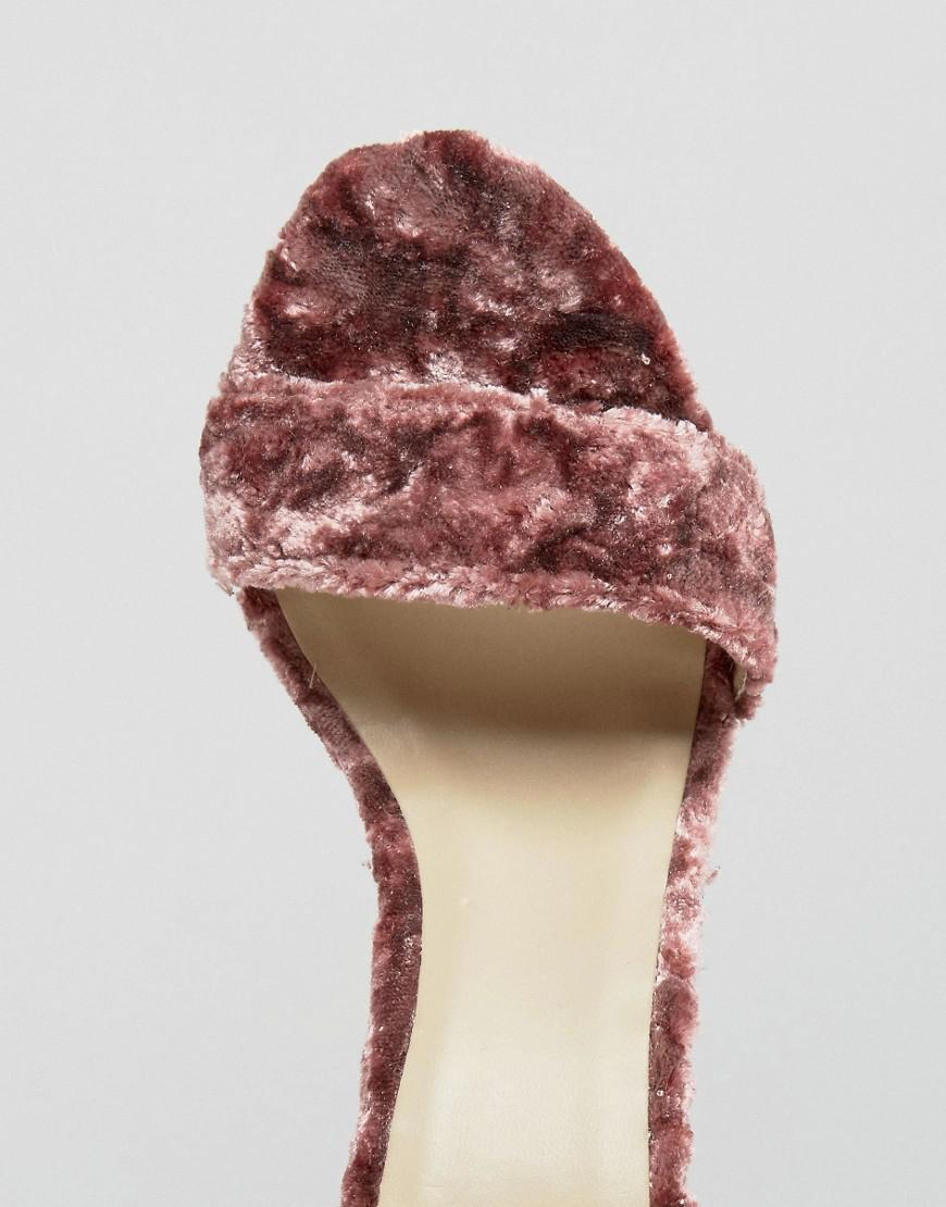 119a1370fd Missguided Crushed Velvet Wrap Around Heeled Sandal in Pink - Lyst