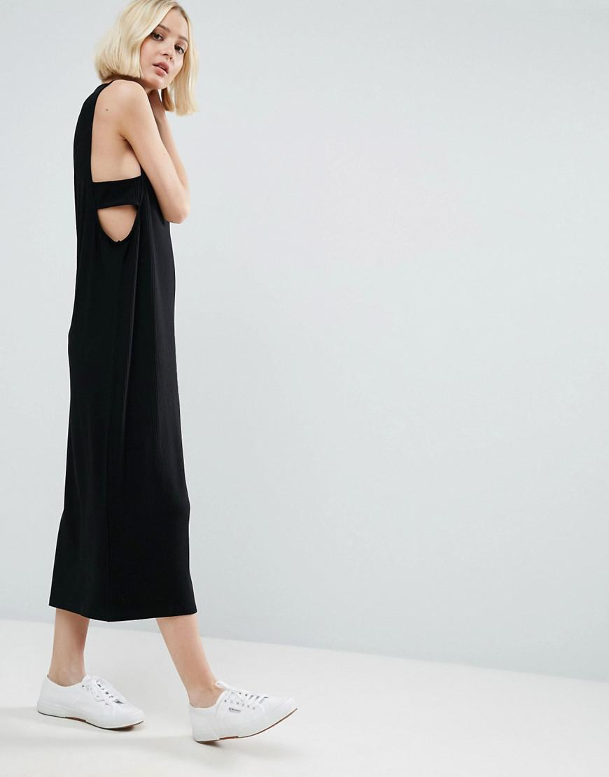 963b09c652 Lyst - ASOS Column Ribbed Maxi Dress With Tab Sides in Black