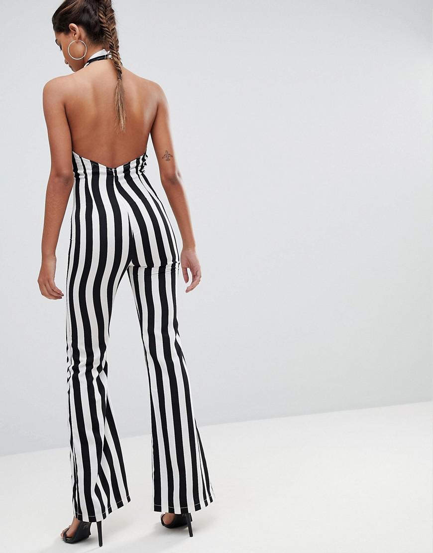 873ef8a71df6 Lyst - PrettyLittleThing Striped Plunge Jumpsuit in Black