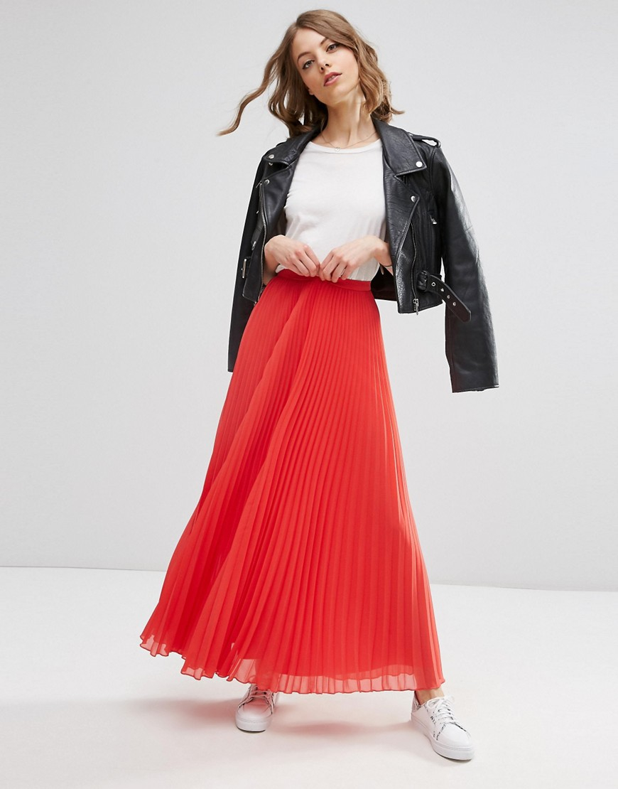 asos pleated maxi skirt in coral lyst