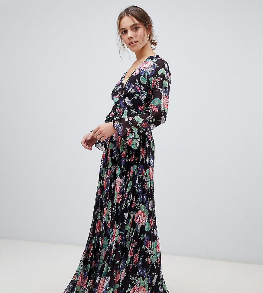 d6ef785928 ASOS. Women s Asos Design Petite Pleated Wrap Maxi Dress With Ruffle In  Floral Print