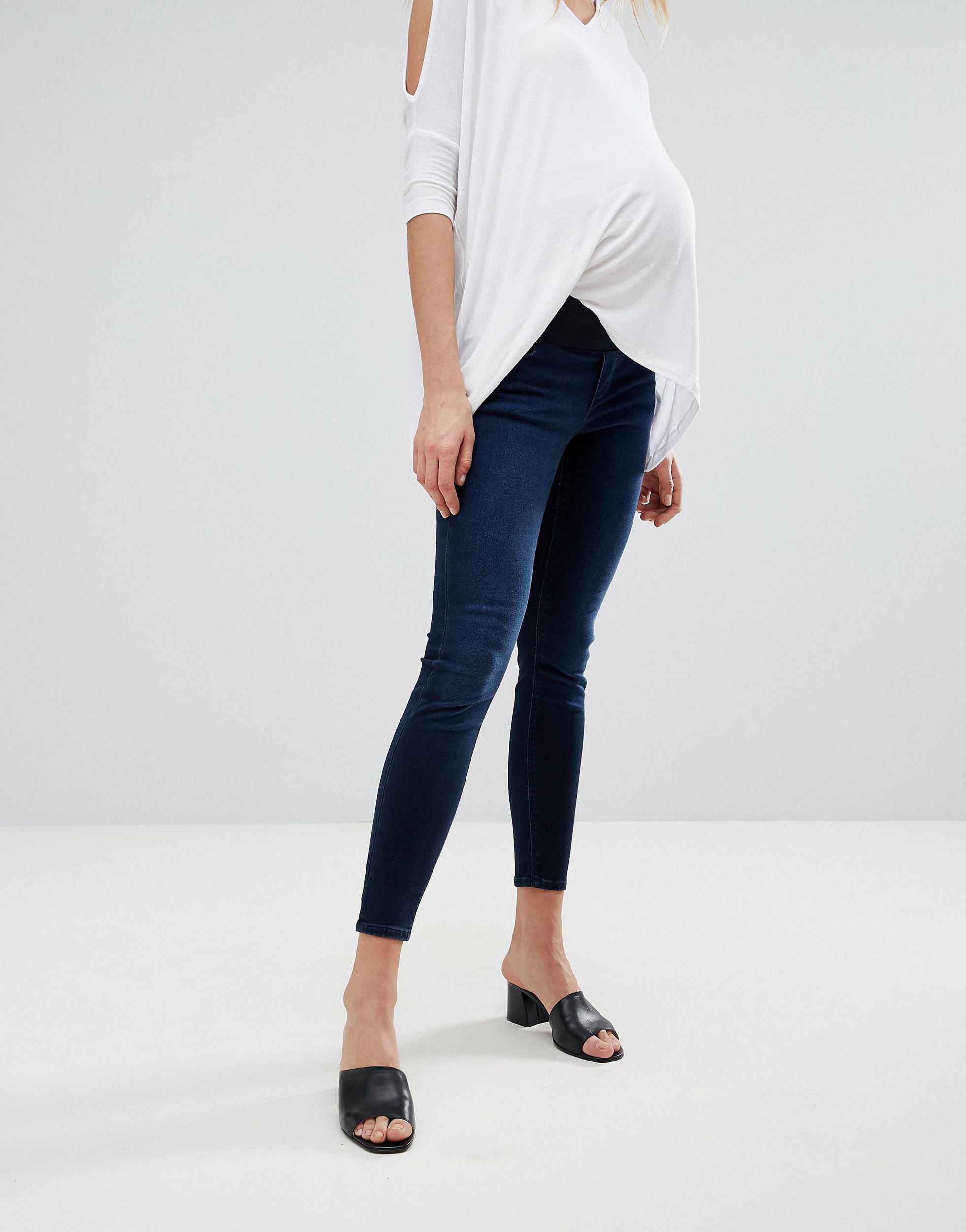 ASOS DESIGN Maternity - Ridley - Jean skinny taille haute avec bande passant sous le ventre - noir délavé Jean ASOS en coloris Bleu