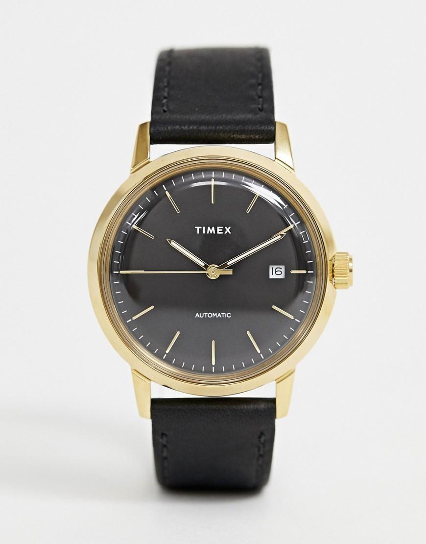 55e923f45df1 Lyst - Reloj automtico de cuero negro Marlin de Timex de hombre de ...
