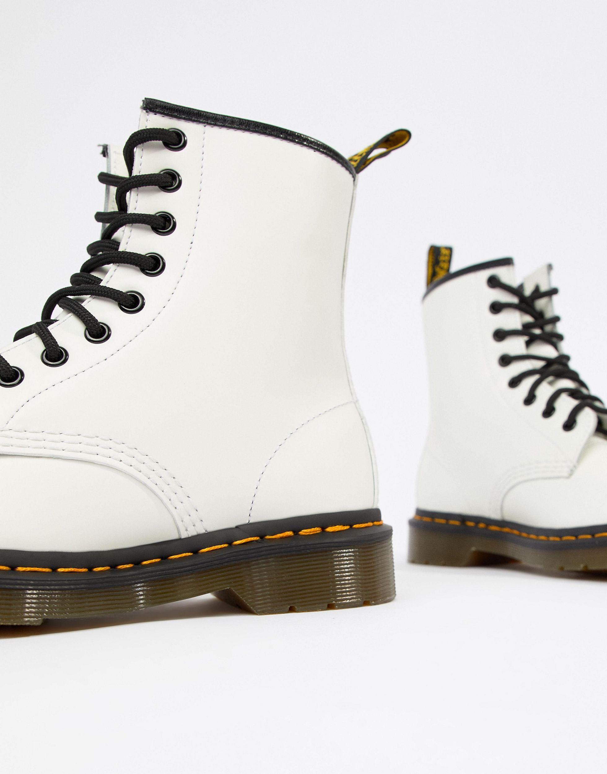 Dr. Martens 1460 Leather Flat Ankle Boots in White