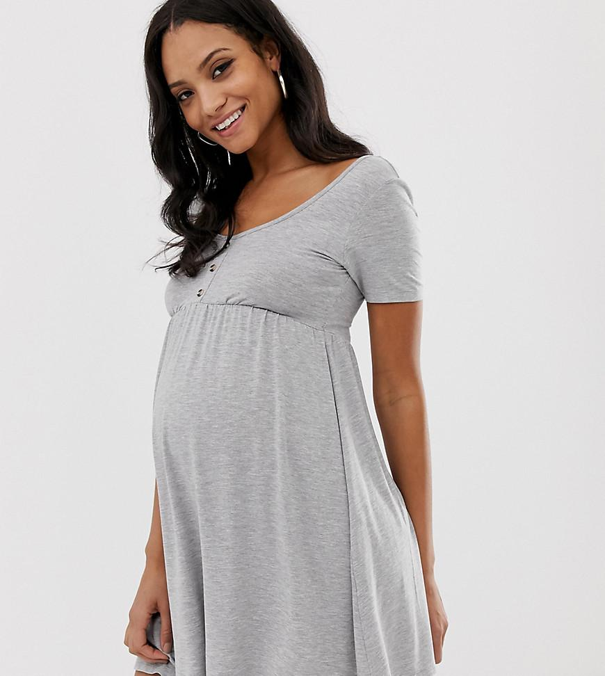 edd5b60896 ASOS. Women's Gray Asos Design Maternity Scoop Neck Mini Button Front Smock  Dress