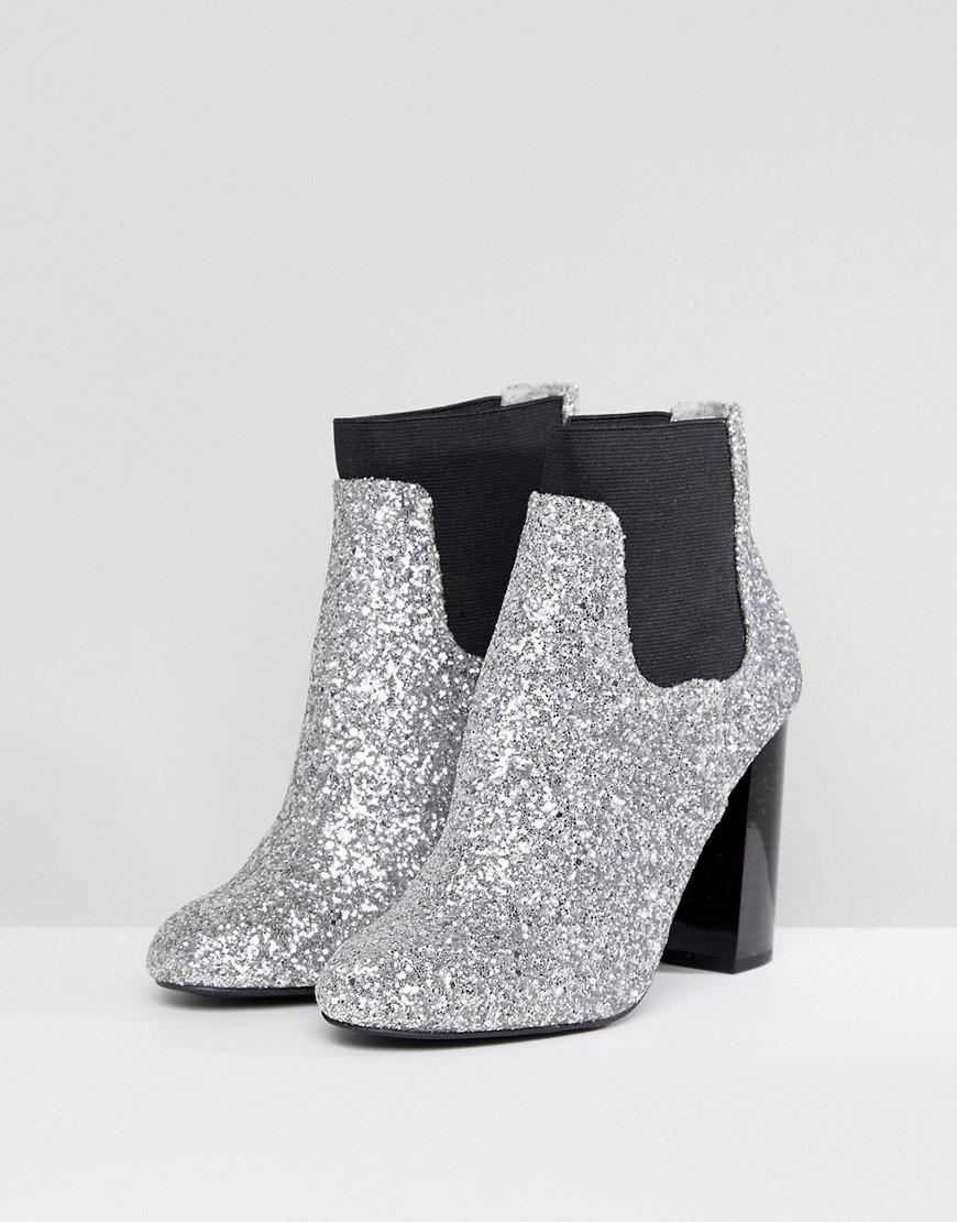 4408877681077 Call It Spring Glitter Heeled Ankle Boots in Metallic - Lyst