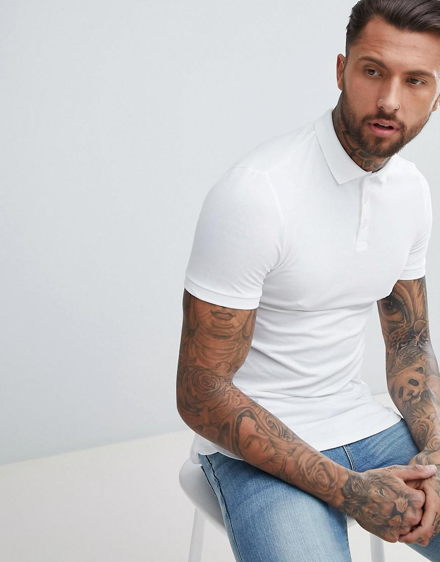 6efd99a2 ASOS - Longline Muscle Fit Jersey Polo With Bound Curved Hem In White for  Men -. View fullscreen