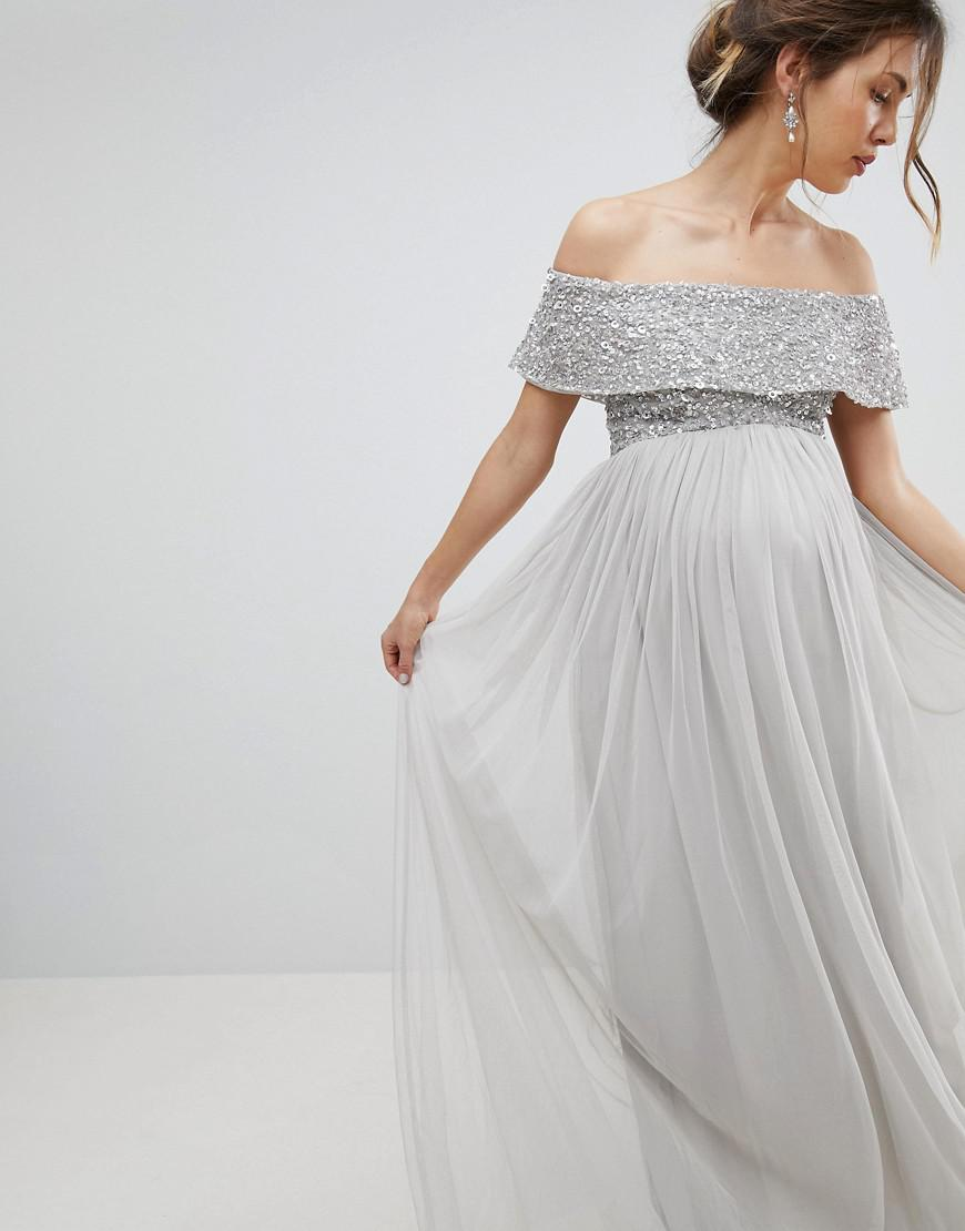 a56d246955186 Maya Maternity Bardot Sequin Top Tulle Detail Dress With High Low ...