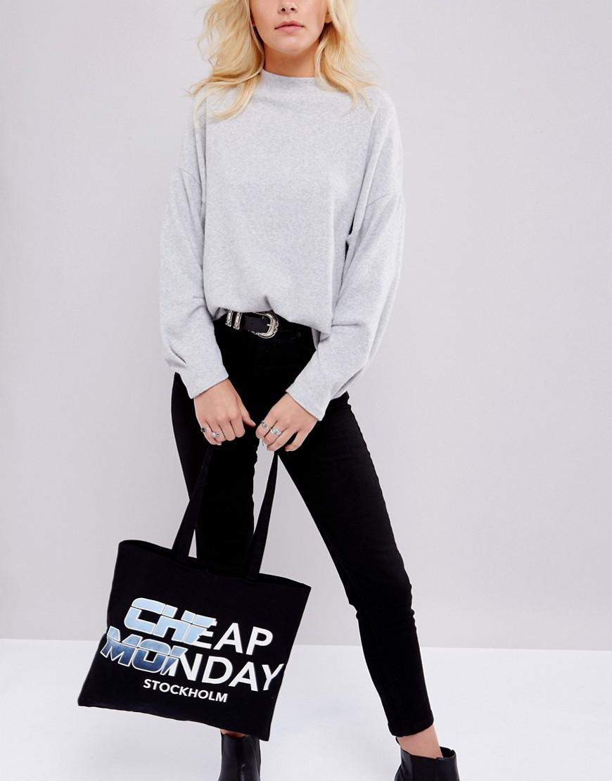 Cheap Monday Denim Logo Tote Bag in Black
