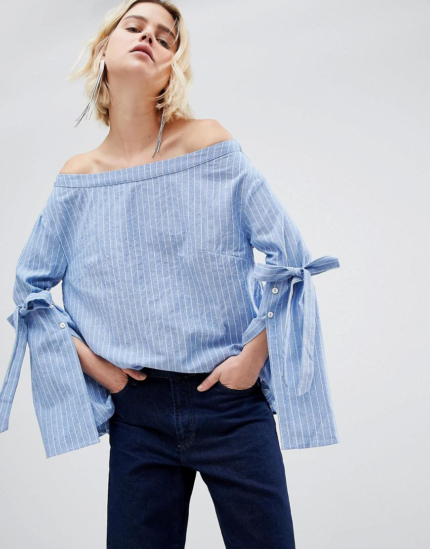 Hard Wearing Cheap Very Cheap Unique 21 Blue Stripe Lace Up Sleeve Shirt - Blue Unique21 Clearance Discount Newest FtC1wO