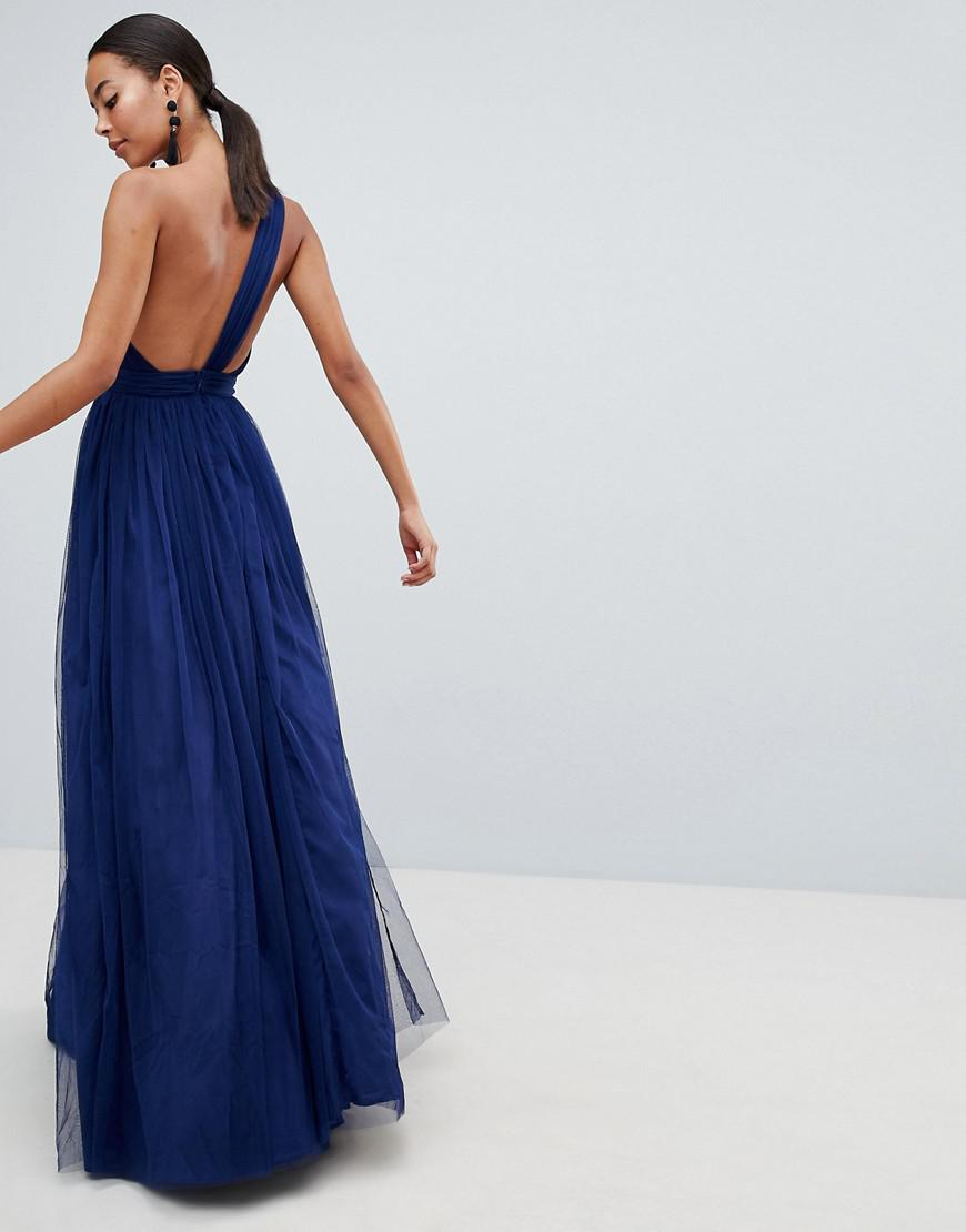 c48610dc526 ASOS Asos Design Tall Premium Tulle One Shoulder Maxi Dress in Blue - Lyst