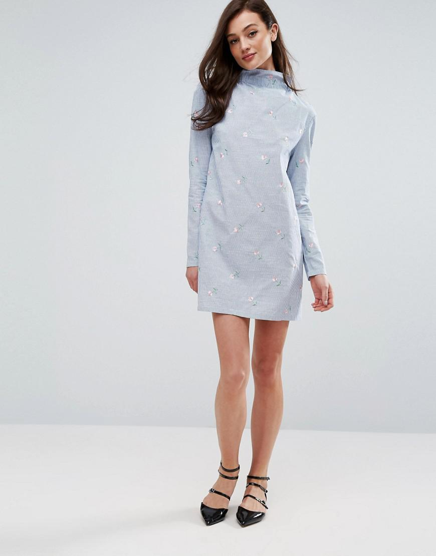 Lyst fashion union high neck dress in blue stripe with