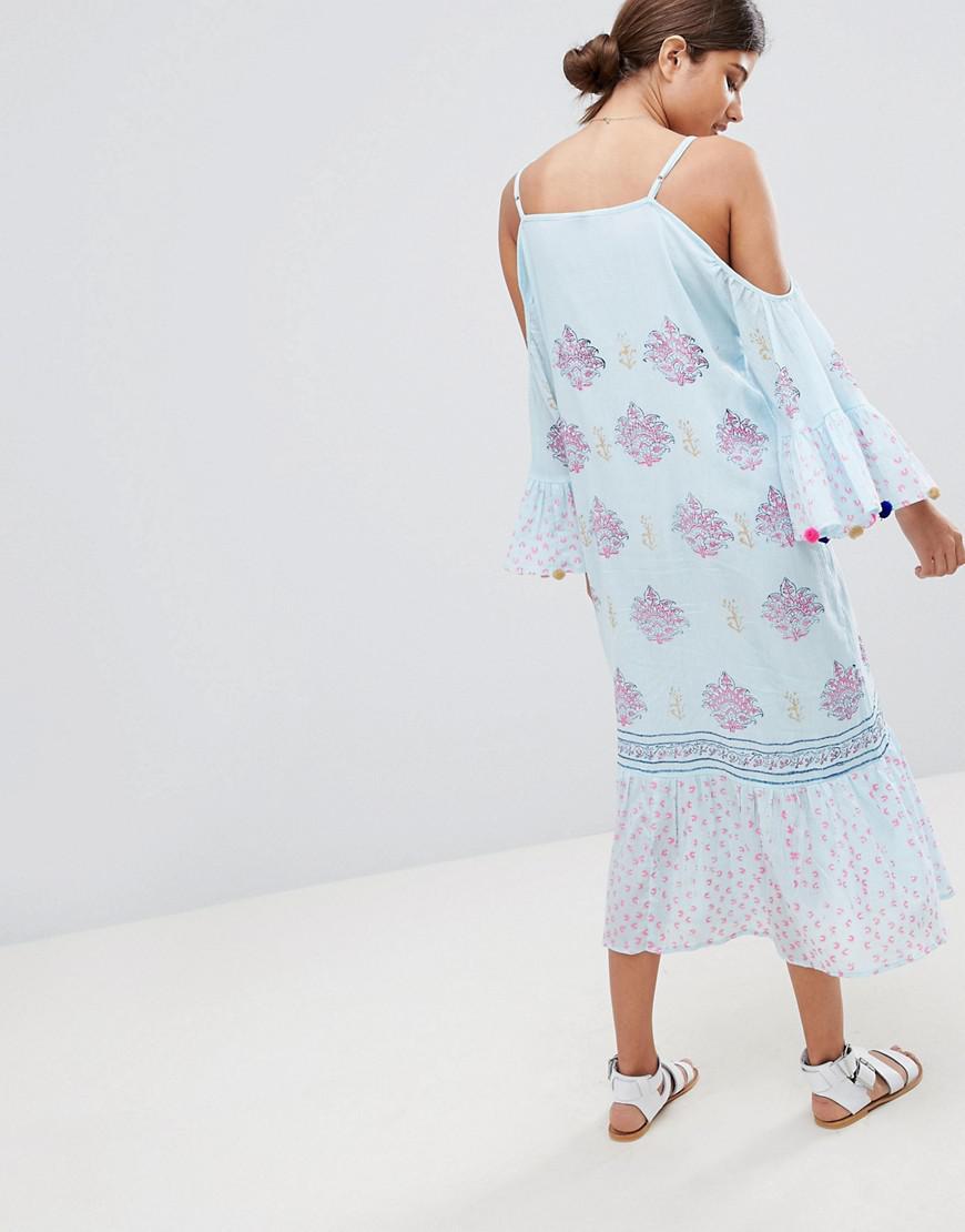 de4411331c4 Lyst - South Beach Maxi Crepe Block Print Beach Dress With Pom Pom ...