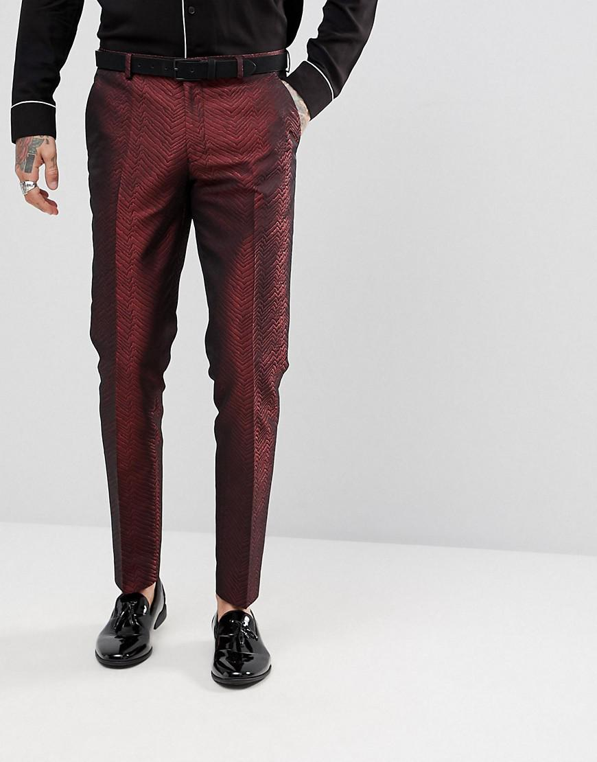 Skinny Crop Suit Trousers In Red Floral Jacquard - Red Asos 2IEJg