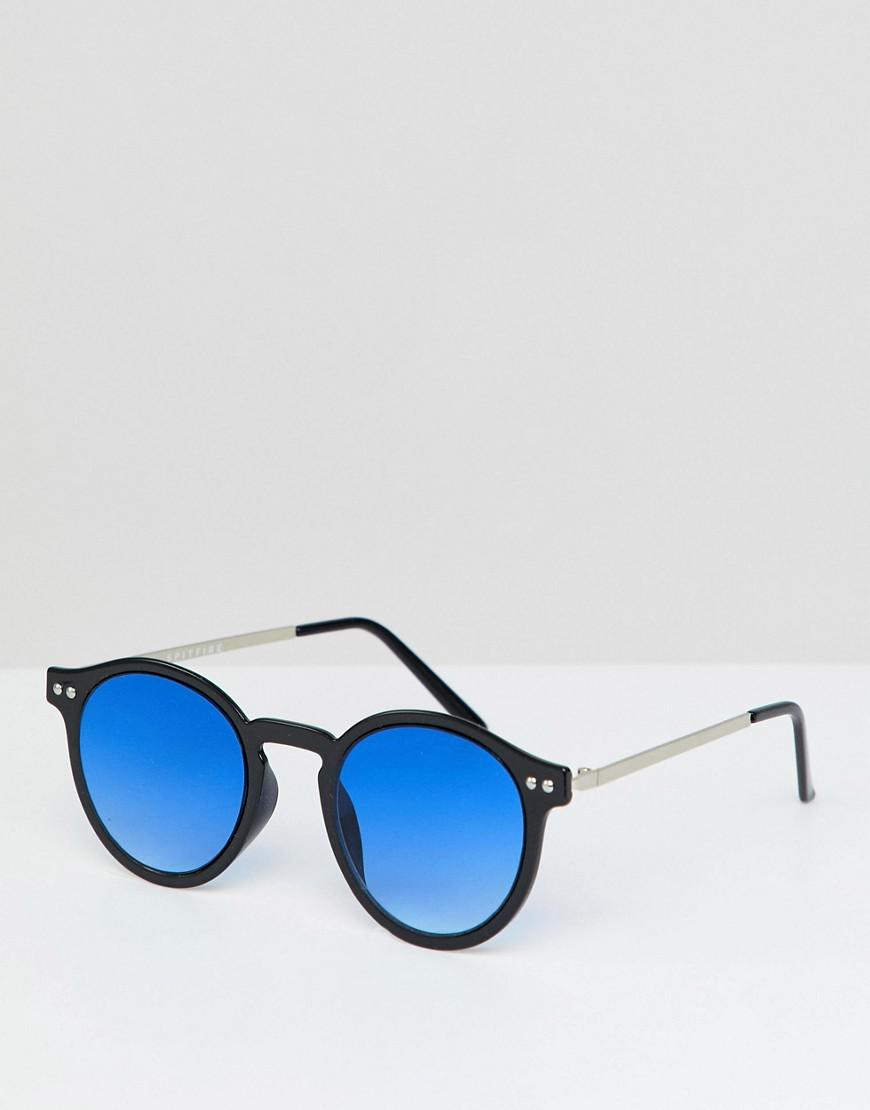 0f6160ea883b1 Spitfire Round Sunglasses In Black With Blue Lens in Black for Men ...