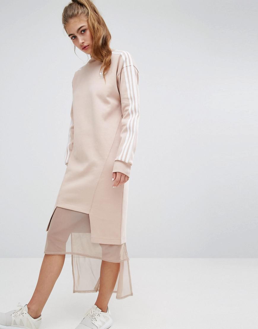 Lyst - adidas Originals Three Stripe Sweat Dress With Drop Hem in Pink 6dfbedcf42a