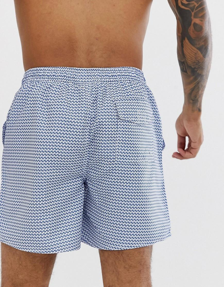 615ee026da Lyst - French Connection Small Print White And Blue Geo Swim Shorts in Blue  for Men