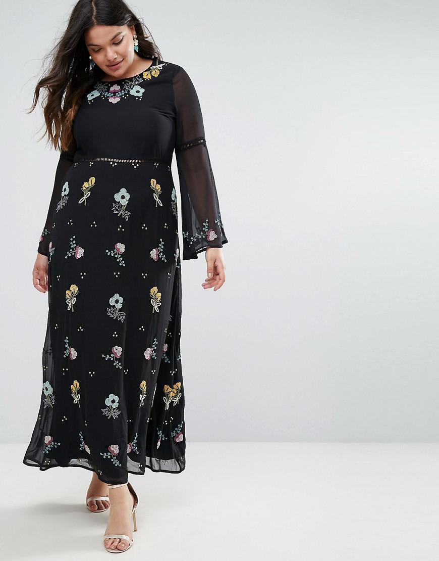 Websites Free Shipping The Cheapest Frock And Frill Plus Embroidered Floral Maxi Dress With Fluted Sleeve - Black Frock and Frill Plus Cheap Sale Discount Discount Authentic For Cheap For Sale F735J2fXh