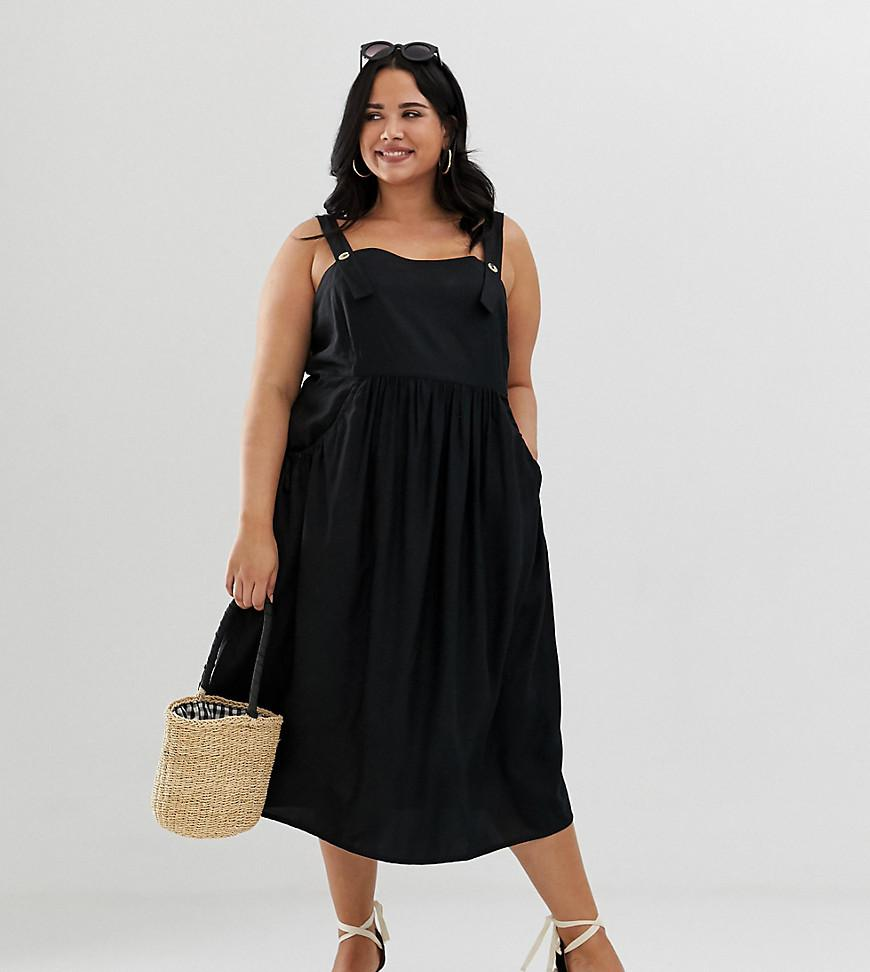 Lyst - ASOS Asos Design Curve Overall Midi Sundress With Pocket ...