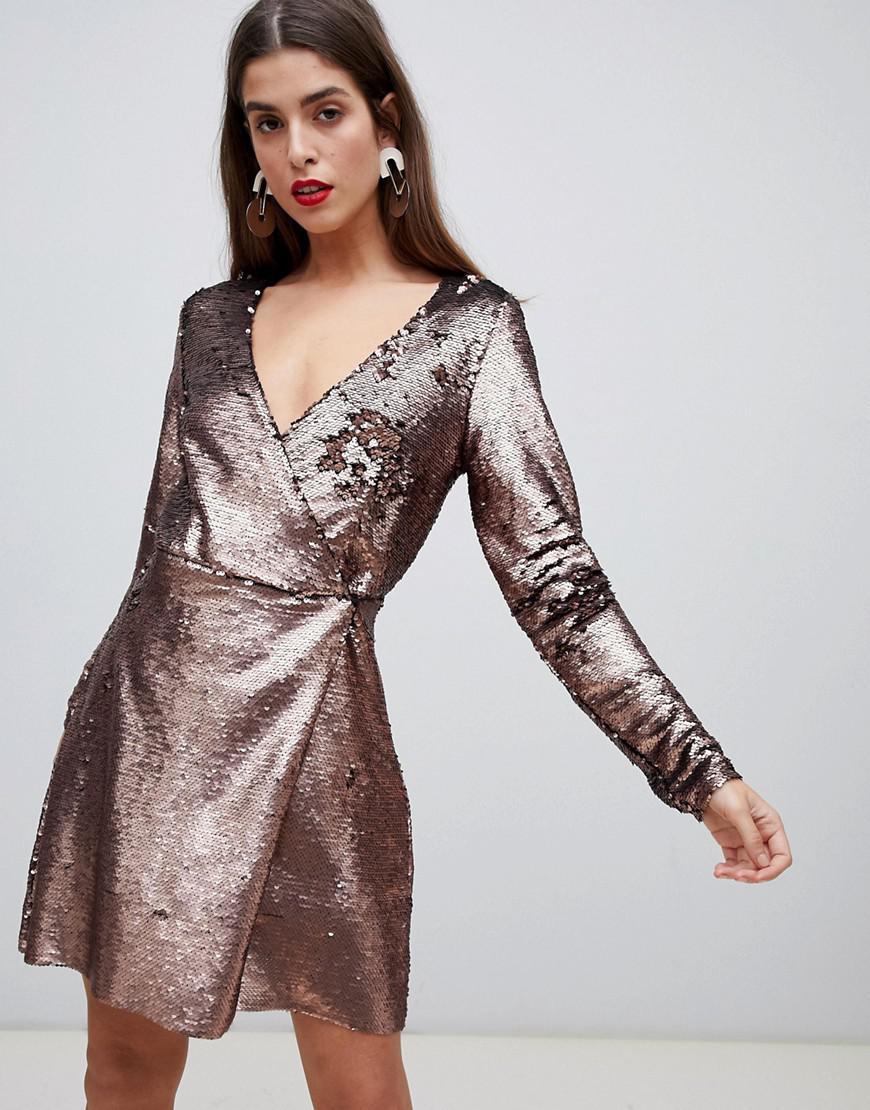 Longue En Moda Mi Portefeuille Lyst Coloris Sequins Robe Vero HxqRxv6w 888ad7096cf