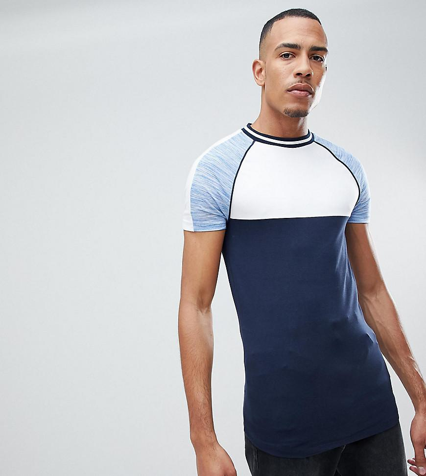Buy Cheap Free Shipping DESIGN muscle raglan t-shirt with interest fabric sleeves and piping in blue - Navy Asos Sale Wholesale Price l6vtH