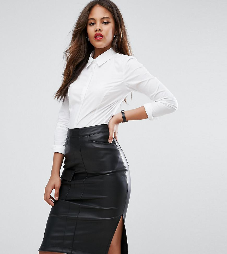 Really Sale Online ASOS DESIGN Tall fuller bust long sleeve shirt in stretch cotton - White Asos Tall Outlet Classic Discount Eastbay Clearance Online Official Site GRlsSv