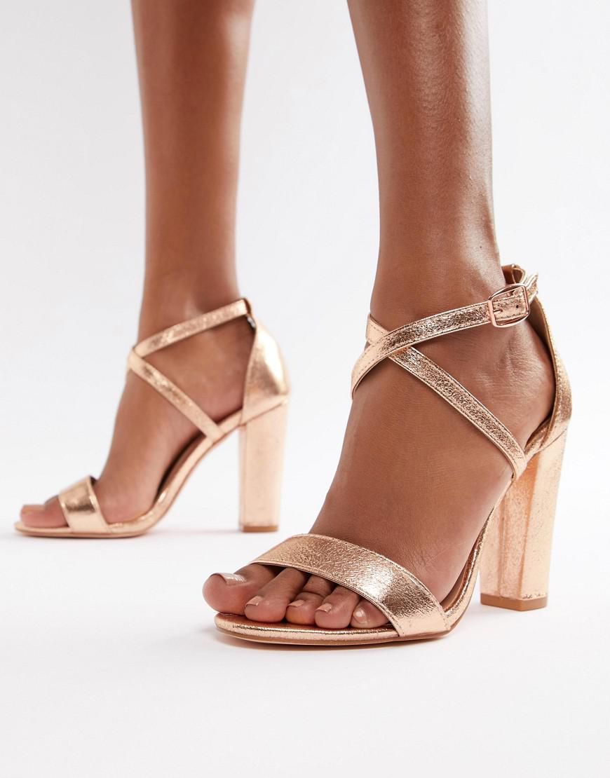 f333c5041044 Glamorous - Metallic Cross Strap Block Heel Sandals In Rose Gold - Lyst.  View fullscreen