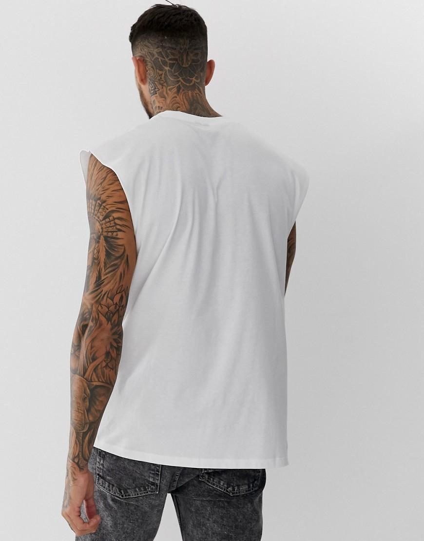 83e7b3553f9c Lyst - ASOS Oversized Longline Sleeveless T-shirt In White in White for Men