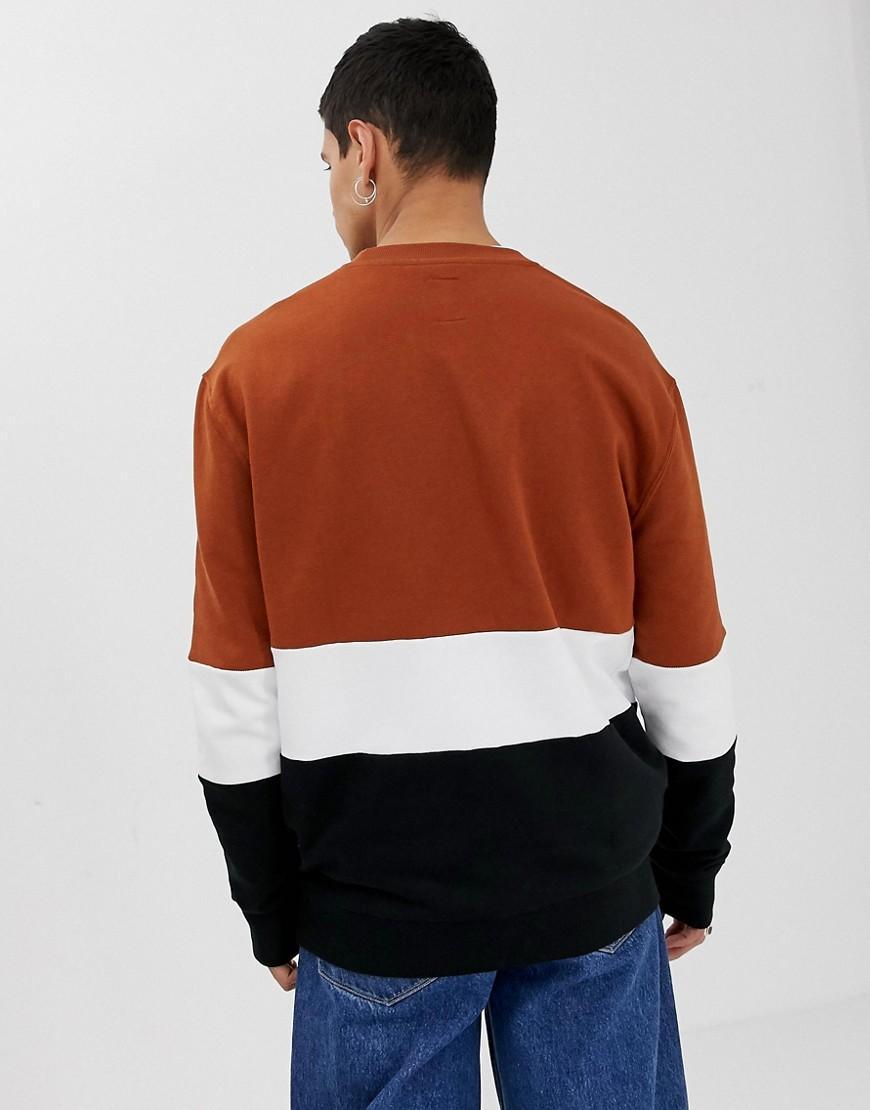 New Look Synthetisch Sweater Met Kleurvlakken in het Bruin voor heren
