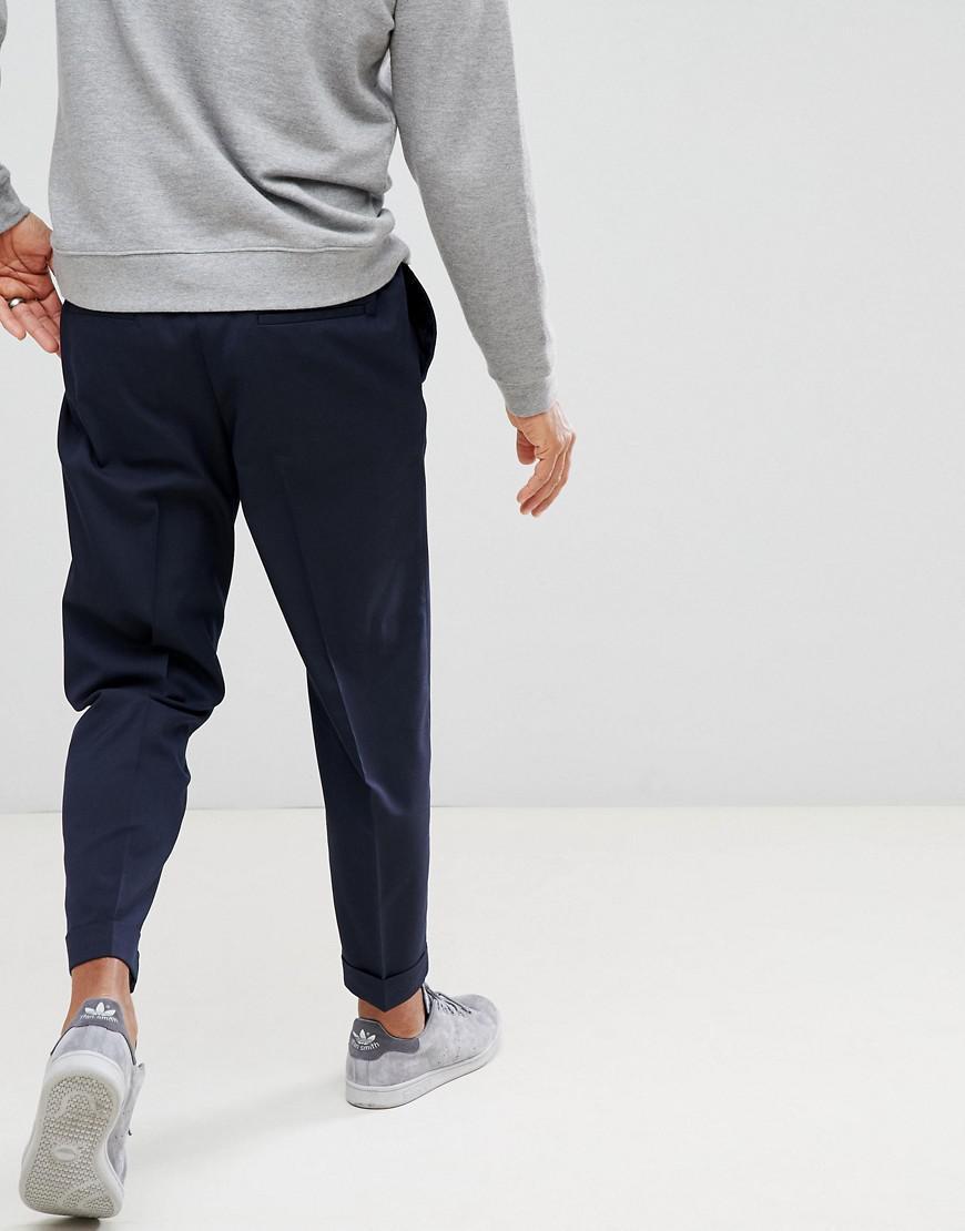 Benetton Denim Smart Trousers With Drawstring in Navy (Blue) for Men