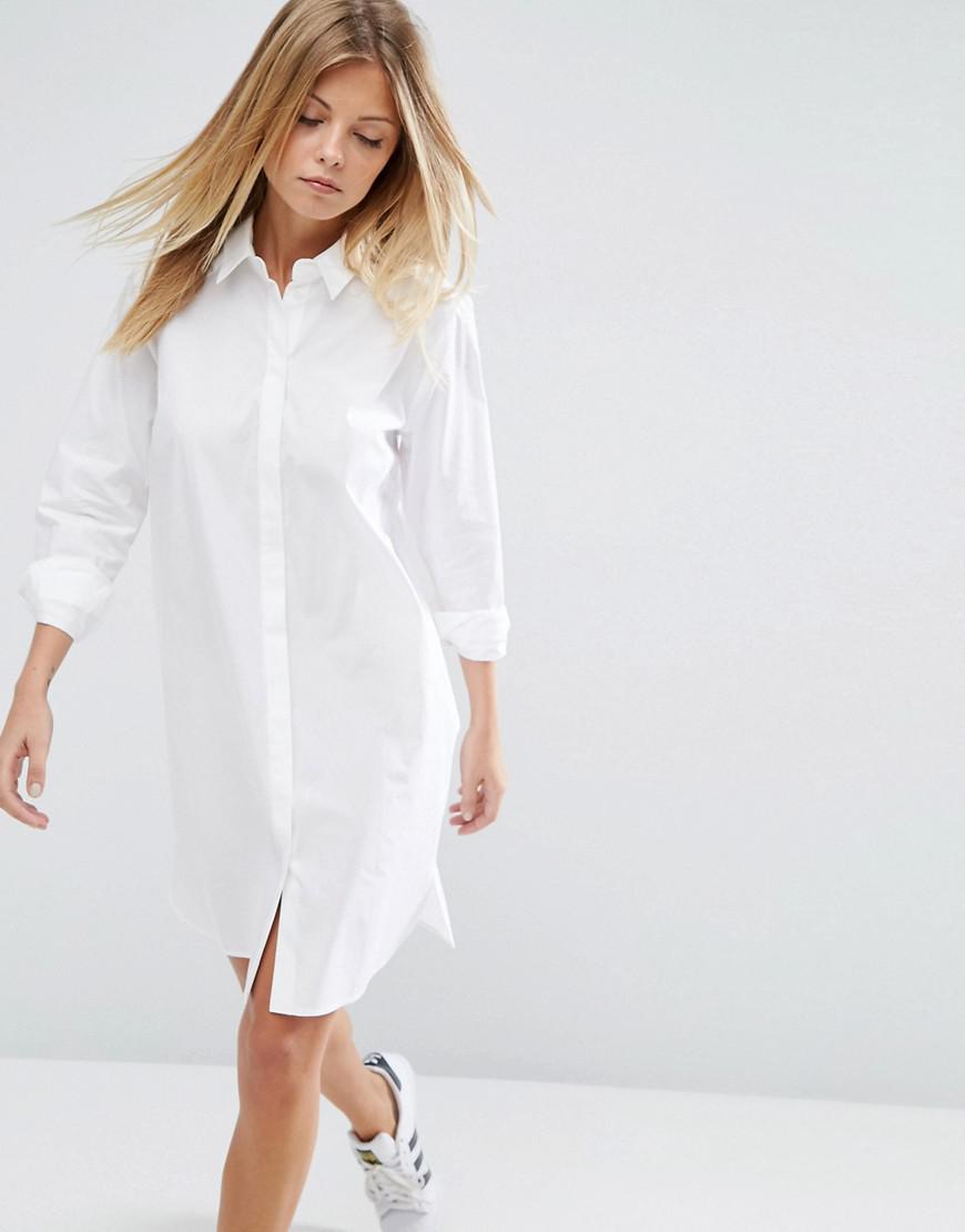 f62191d3263 ASOS Cotton Shirt Dress in White - Lyst