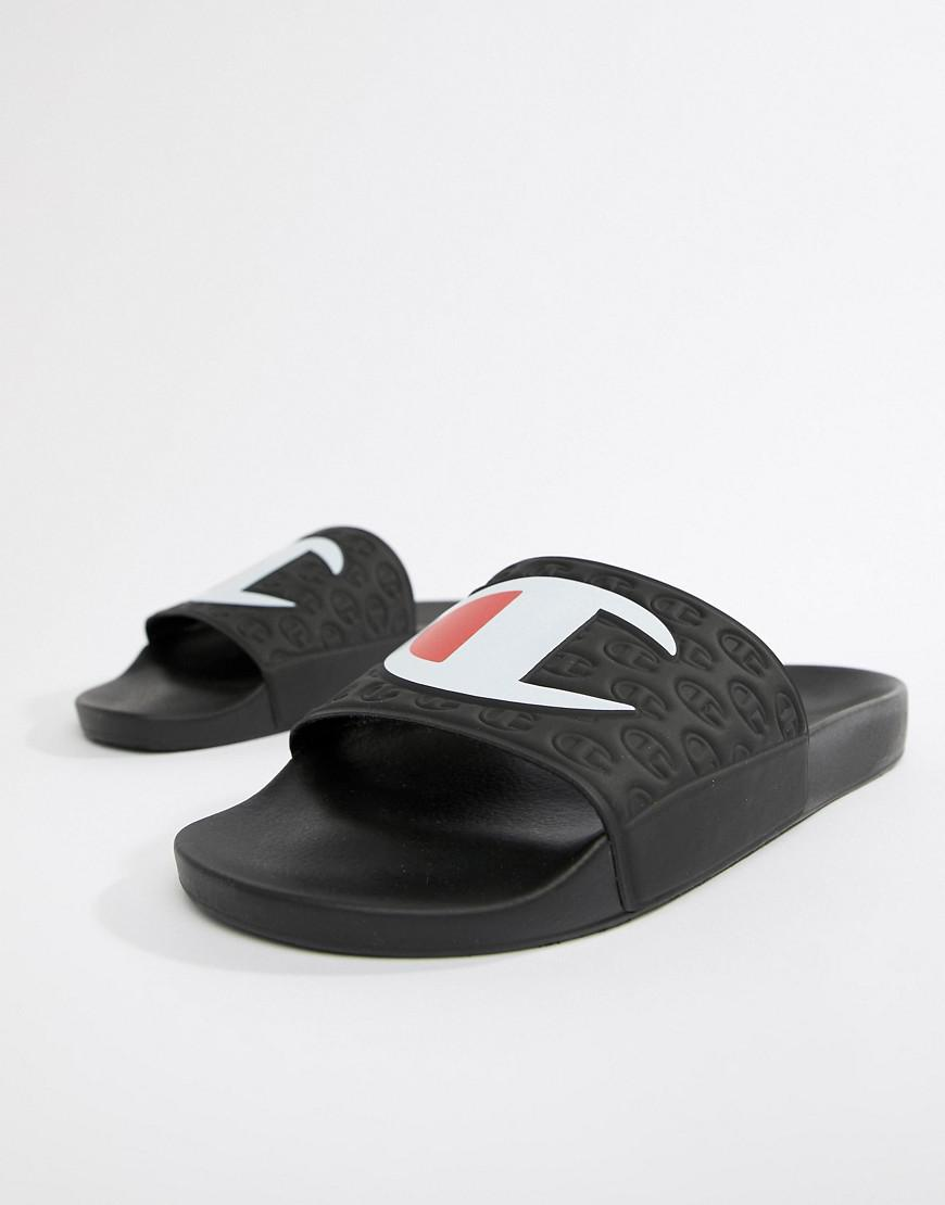 c66f6107d6c Champion Sliders With Large Logo In Black in Black for Men - Lyst