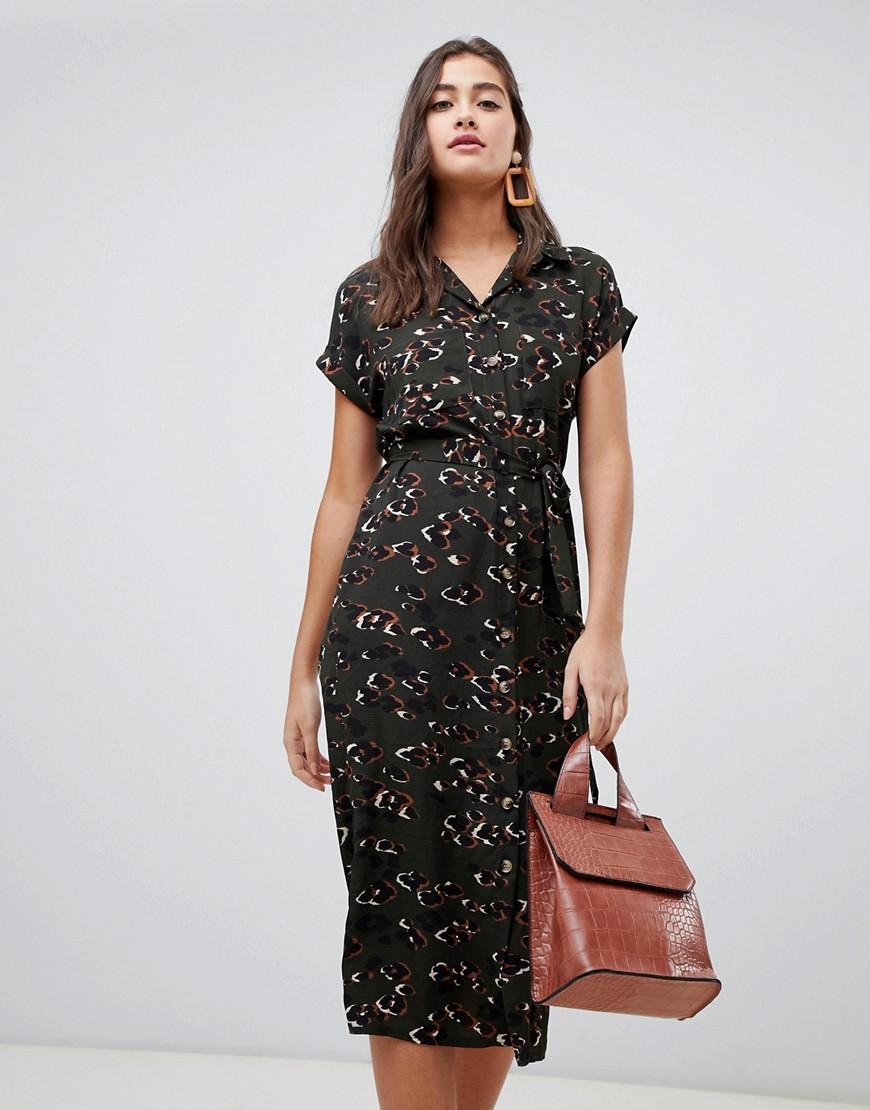 9ff6277993 Lyst - New Look Midi Shirt Dress In Black Leopard Print in Green