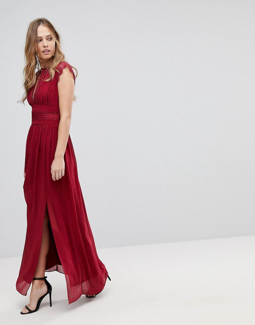 Lyst Tfnc London Lace Detail Maxi Bridesmaid Dress In Red