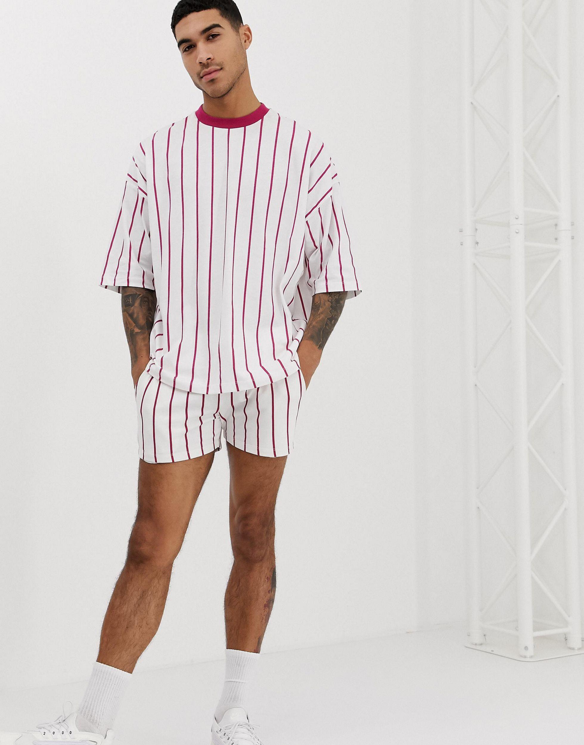 ASOS Katoen Combi-set - Oversized T-shirt Met Verticale Strepen En Contrasterende Hals in het Wit voor heren