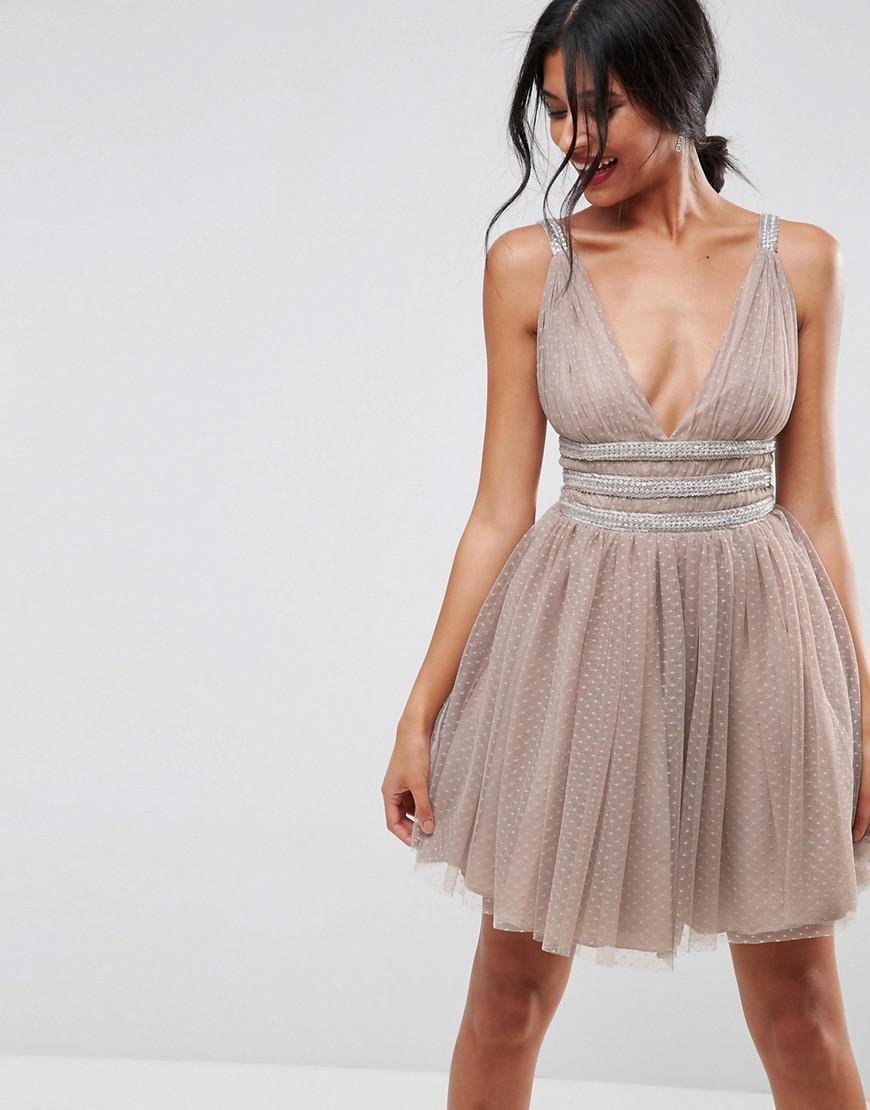 Lyst - ASOS Asos Tulle Strappy Embellished Mini Skater Dress in Natural 5d0e96039