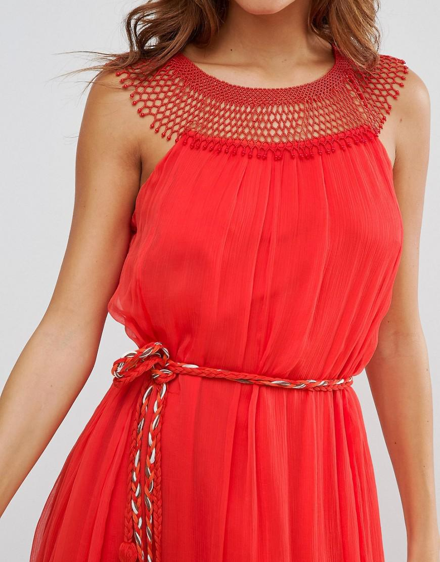 61b56b0111b French Connection Amboseli Beaded Maxi Dress in Red - Lyst