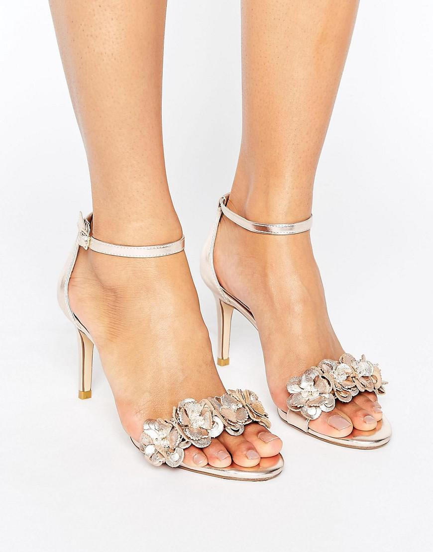 01e113f67a56 Dune Magnolea Heeled Sandal With Applique in Metallic - Lyst