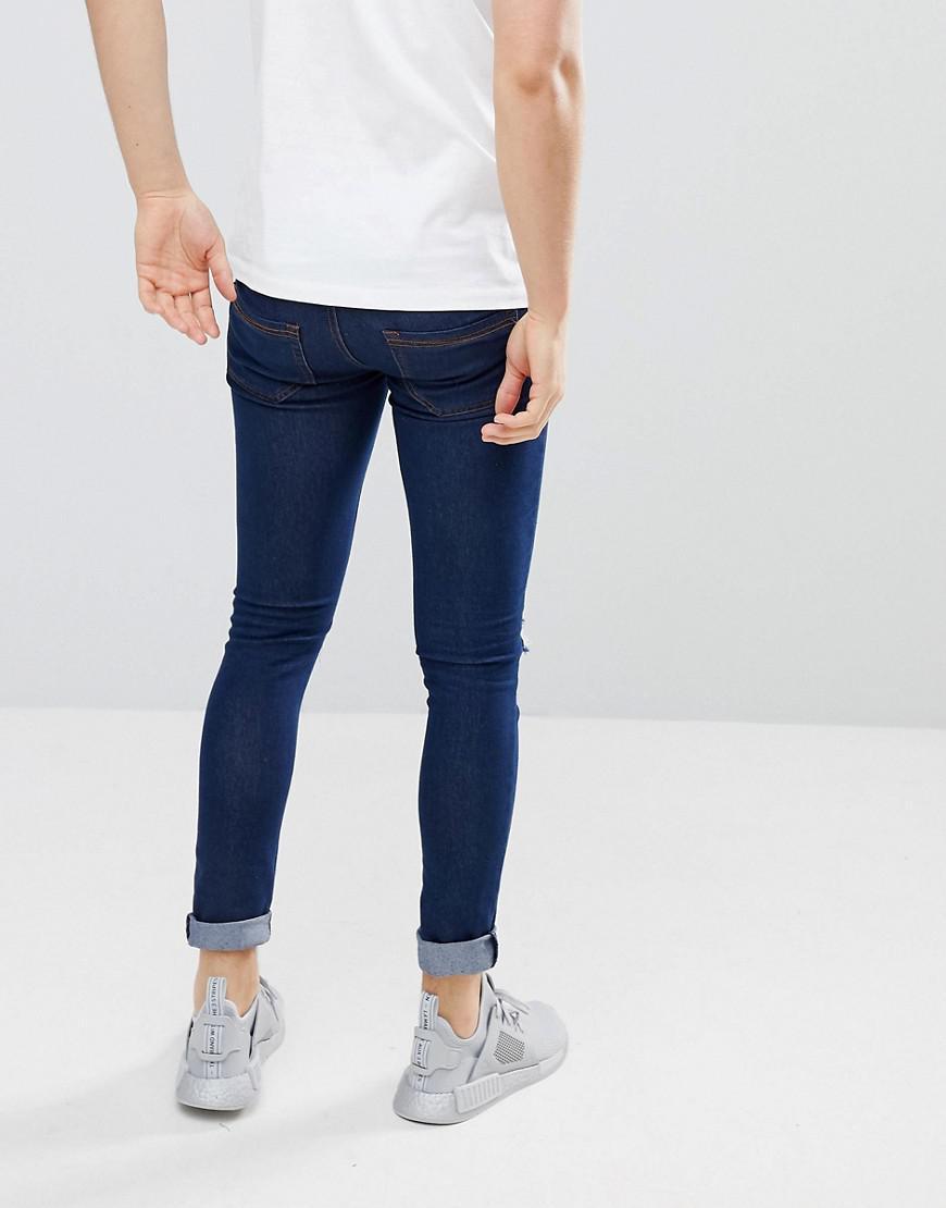 Criminal Damage Denim Super Skinny Jeans In Indigo Ripped in Navy (Blue) for Men
