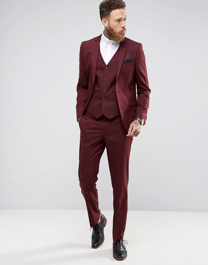ASOS Synthetic Slim Suit Jacket In Burgundy in Red for Men