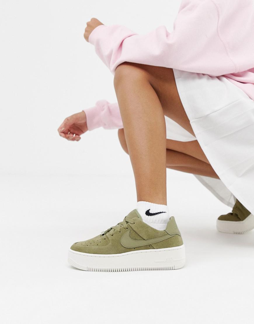 Nike Leather Khaki Air Force 1 Sage