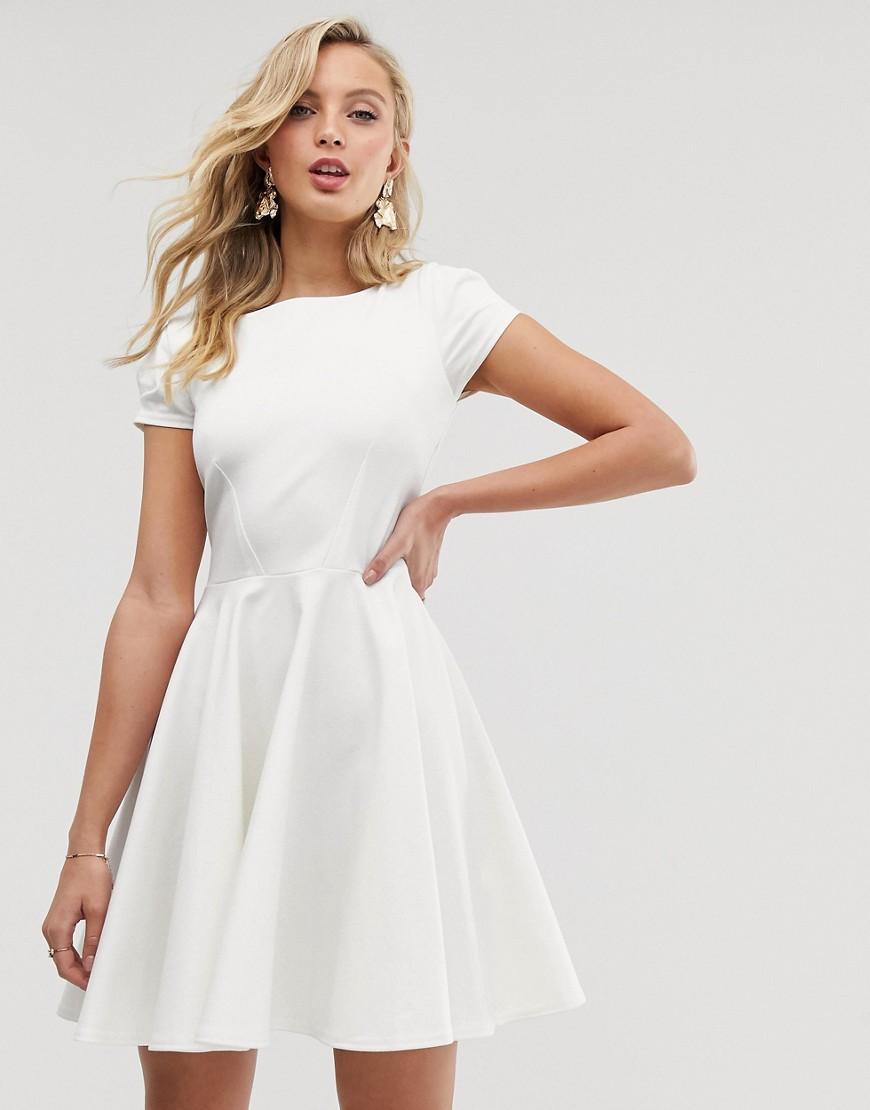 2b754f12faa6 Closet - White Cap Sleeve Prom Skater Dress In Ivory - Lyst. View fullscreen