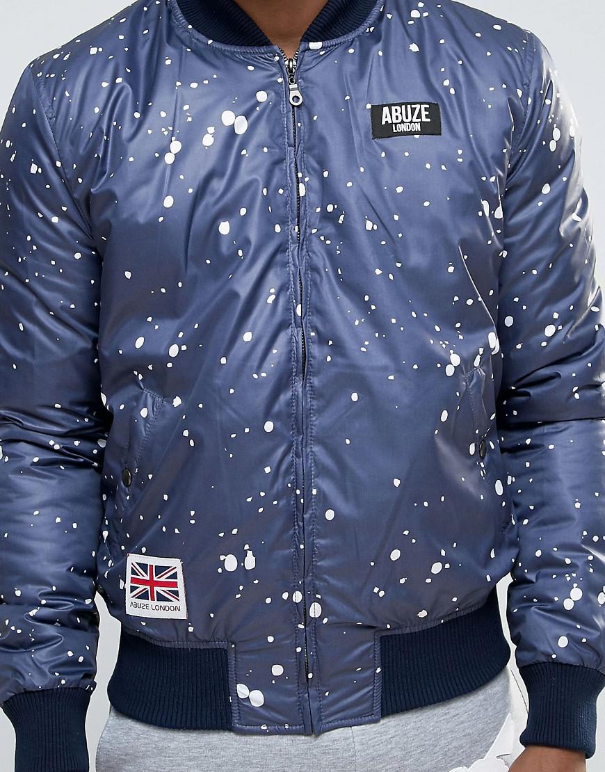 Abuze London Synthetic Splatter Patch Ma1 Bomber Jacket in Navy (Blue) for Men