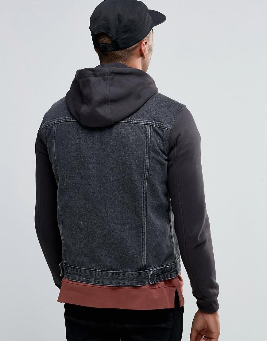 New Look Denim Hooded Jacket With Jersey Sleeves In Grey ...